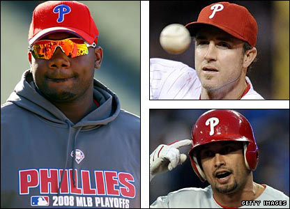 Ryan Howard, Chase Utley and Shane Victorino