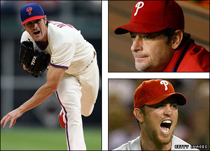 Cole Hamels, Jamie Moyer and Brad Lidge