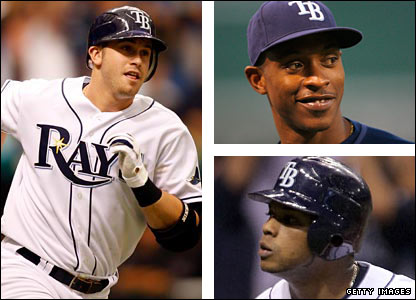 Evan Longoria, BJ Upton and Willy Aybar