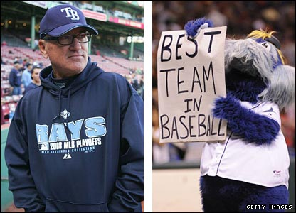 "Tampa Bay manager Joe Maddon and team mascot ""Raymond"", a seadog"