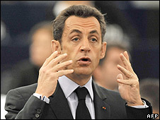 French President Nicolas Sarkozy in European Parliament, 21 Oct 08
