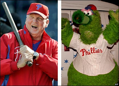 "Phillies manager Charlie Manuel and team mascot, the ""Phillie Phanatic"""