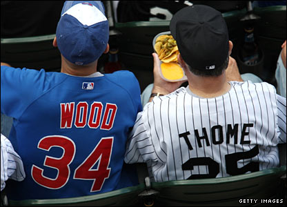 Chicago Cubs (left) and White Sox fans watch an interleague game between the sides