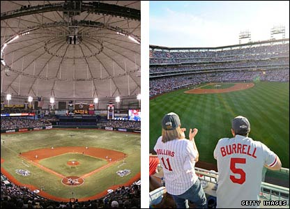 Tampa Bay's Tropicana Field and Philadelphia's Citizens Bank Park
