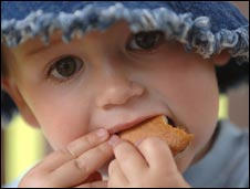 boy eating biscuit