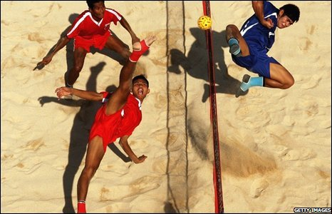 Kick volleyball match at Asian Beach Games in Bali