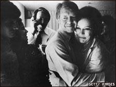 Jimmy and Rosalynn Carter on election night, 1976
