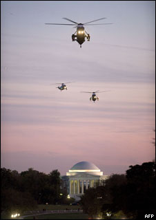 Marine One, heading for the White House