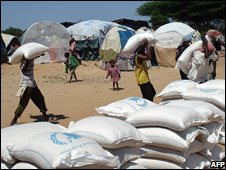 Aid being distributed at a UN camp in Somalia