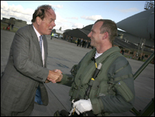MP Quentin Davies and BAE pilot Nat Makepeace