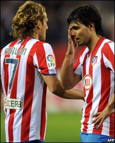 Forlan and Aguero were on the losing side in the Madrid derby at the weekend