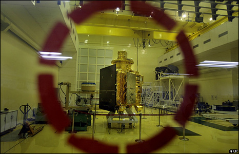 The satellite Chandrayaan-1 spacecraft, India's first moon mission craft is seen from behind glass at the Indian Space Research Organisation facility in southern Indian