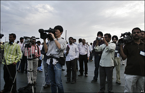 The media covering the launch of Chandrayaan-1, India's maiden lunar mission, at the Satish Dhawan Space Center in Sriharikota, India