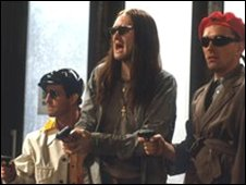The Young Ones rob a bank in Bristol
