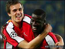 Aaron Ramsey (left) and Emmanuel Eboue