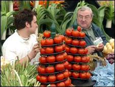 arranging a display at Chelsea Flower Show