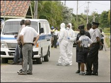 Crime scene in Tobago on October 9 following murder of a Swedish couple