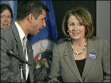 "House Speaker Nancy Pelosi campaigns Monday, Oct. 20, 2008 in Bloomington, Minn, for Democrat Ashwin Madia, left, who is running for Minnesota""s 3rd Congressional District."
