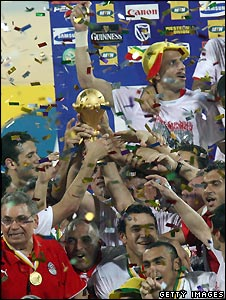 Egyptian players celebrate winning the 2008 Africa Cup of Nations in February