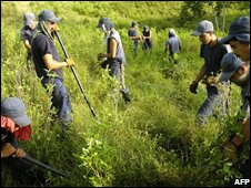 People work to uproot coca crops - file photo from Sep 2008