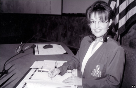 Sarah Palin while a city council member for Wasilla, Alaska, in the mid-1990s