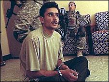 Alleged insurgent leader, Gazwan, in custody, pic credit: Nick Woolley