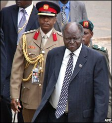 President Mwai Kibaki arriving for the meeting