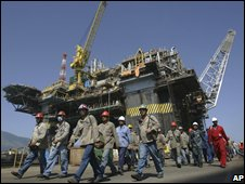 Workers at oil facility in Brazil