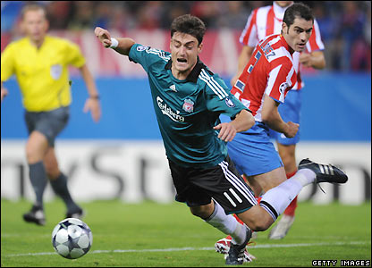 Riera falls in the penalty area