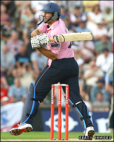 Tryon Henderson hits a six for Middlesex against Kent