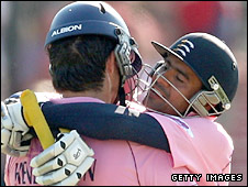 Owais Shah and Tyron Henderson embrace during the Twenty20 finals