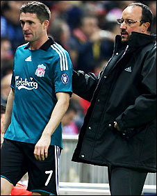 Robbie Keane (left) with Rafael Benitez