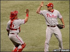 Brad Lidge and Carlos Ruiz of the Philadelphia Phillies celebrate their win