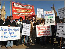 Chagos islanders outside the House of Lords on 22 October 2008