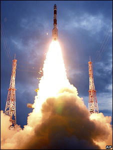 The unmanned Chandrayaan 1 spacecraft blasts off