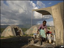 Haitians living in temporary shelters after the summer's storms