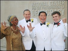 Nichelle Nichols, Brad Altman, George Takei and Walter Koenig