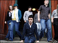 Johnny Marr (front) with Salford students
