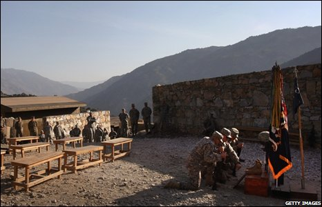 US Army soldiers hold a memorial in Afghanistan