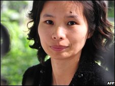 Hu Jia's wife, Zeng Jinyan at her home in Beijing (10/10/08)