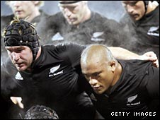 All Blacks hooker Andrew Hore and prop Neemia Tialata prepare to pack down against England in the 44-12  second-Test win in June 2008