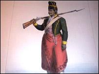 Miembro de la infantería uruguaya en el tiempo de la colonia