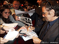 Al Pacino signs autographs for fans