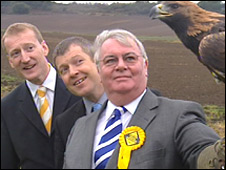 Harry Wills, Willie Rennie and Scottish Lib Dem leader Tavish Scott