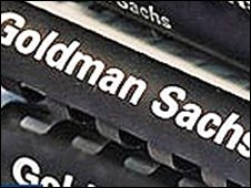 File with Goldman Sachs written along spine