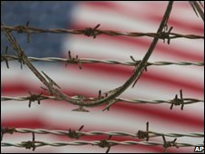 US flag behind razor-wire at the detention compound on Guantanamo Bay US Naval Base in Cuba, file pic from 2007