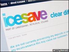 Notice on Icesave website