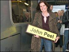 Sheila Ravenscroft at the train