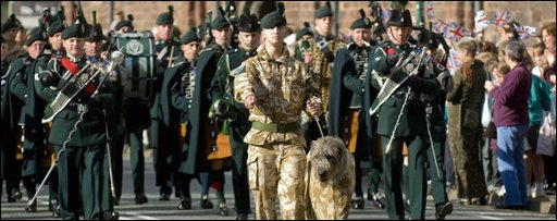 The Royal Irish Regiment's homecoming parade in Shrewsbury after returning from Afghanistan. Pic MoD/PA wire