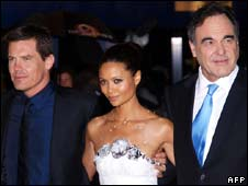Josh Brolin, Thandie Newton and Oliver Stone at the premiere of film W